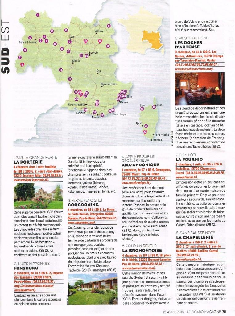 Les Roches d'Artense dans le Figaro Magazine 2016