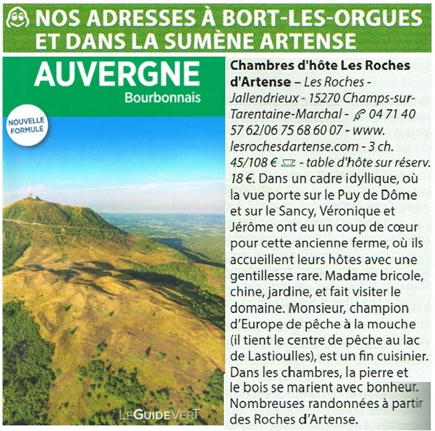 Les Roches d'Artense dans le Guide Vert Auvergne 2017