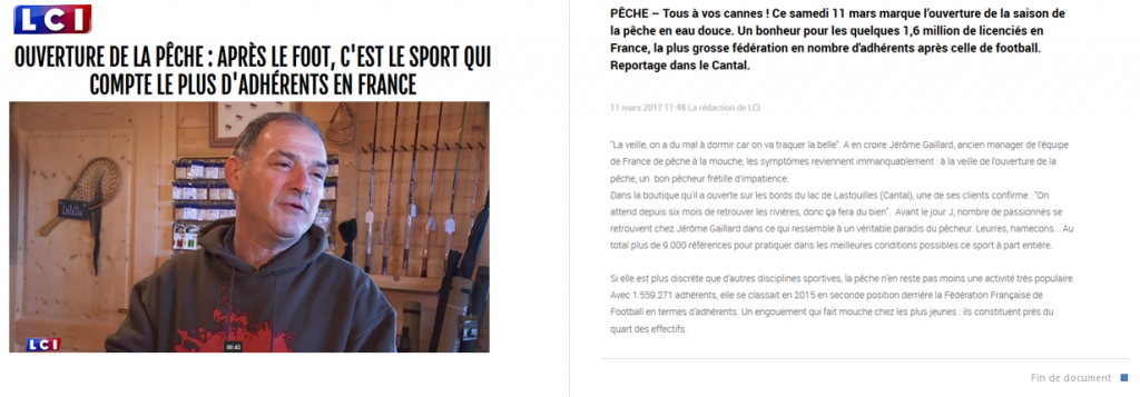Reportage TF1 LCI 11 mars 2017 Centre de Pêche de Lastioulles HAUT CANTAL AUVERGNE
