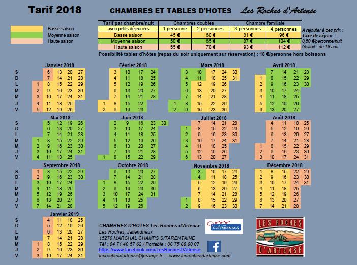 Tarif 2018 - Chambres d'hôtes les Roches d'Artense CANTAL