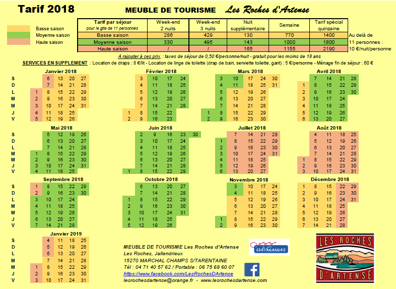 Tarif 2018 -  Gite les Roches d'Artense Haut Cantal Auverge