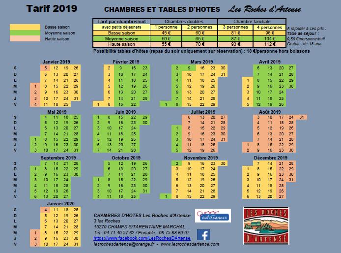 Tarif 2019 - Chambres d'hôtes les Roches d'Artense CANTAL