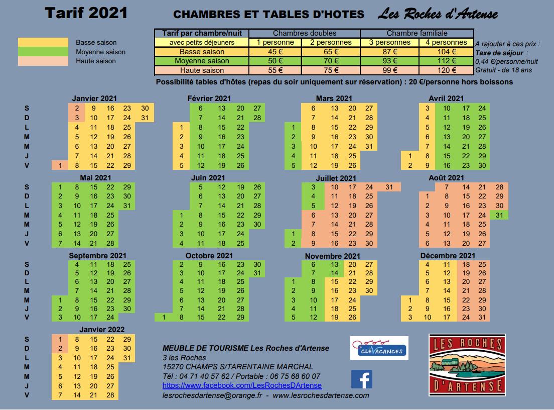 Tarif 2020 - Chambres d'hôtes les Roches d'Artense CANTAL